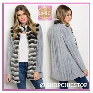 Faux fur marbled gray striped jacket with pockets